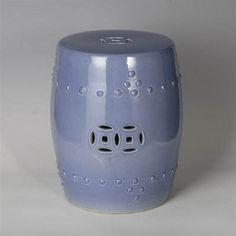 Light Blue Ceramic Garden Stool