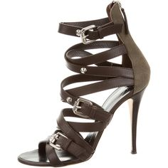 Pre-owned Giuseppe Zanotti Leather Cage Sandals ($230) ❤ liked on Polyvore featuring shoes, sandals, brown, leather sandals, strappy sandals, leather strap sandals, giuseppe zanotti sandals and leather shoes