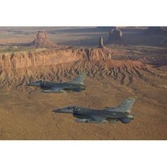 Two F-16s fly in formation over Northern Arizona Canvas Art - High-G ProductionsStocktrek Images (35 x 24)