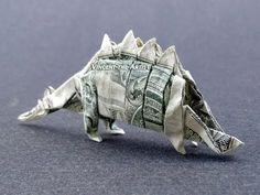 Money Origami Stegosaurus - Dollar Bill Dinosaur