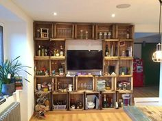 Wooden pallet crate style shelving and media center