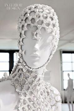 """Disciplines: four. Material: one. They all added up in """"Pratt + Paper & Ralph Pucci. Space Fashion, Fashion Art, Fashion Design, Womens Fashion, Mode Origami, Structured Fashion, Geometric Fashion, Origami Fashion, Body Adornment"""