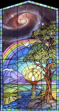 Rogue Valley Unitarian Universalist Fellowship. Lovely stained glass window.