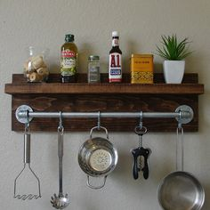 Industrial Rustic Kitchen Spice Rack Shelf with Pot Rack Bar and 5 Hanging S Hooks
