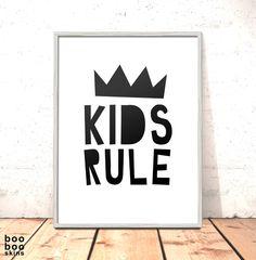 Kids Rule Print | Nursery Print | Art for Kids Room | Scandi Nursery Print | Modern Nursery | Modern Art Kids Room Black White Decor by boobooskins on Etsy #modern #bold #simple #typography #papercut #home #decor #homedecor #scandi #nordic #minimalist #monochrome #style #cute #kids #nursery #newbaby #bedroom #art #poster #black #white #crown