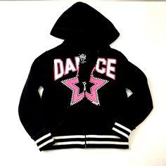 883f5285b8fea Justice Zip Up Hooded Sweatshirt Sparkles Dance Star Black Pink Girls Size 6