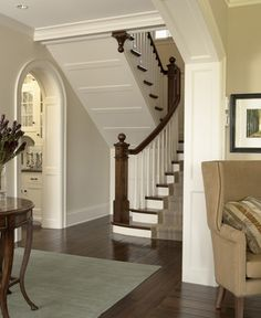 ~ Living a Beautiful Life ~ trim under stairs. Wood Trim Walls, Arched Doors, Grand Homes, House Stairs, Entry Foyer, Under Stairs, Stairways, Architecture Details, Beautiful Homes