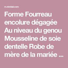 Forme Fourreau encolure dégagée Au niveau du genou Mousseline de soie dentelle Robe de mère de la mariée avec Perles brodées (0085097336) - mvbridal