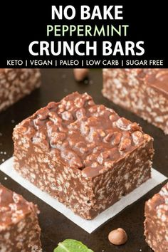 Homemade Keto Peppermint Chocolate Crunch Bars Paleo, Vegan, Gluten Free, Sugar Free, Low Carb-An Easy Nut-Free Recipe For No Bake Chocolate Peppermint Crunch Bars Like The Candy Bar Ready In Minutes Recipe On Sugar Free Desserts, Sugar Free Recipes, Low Carb Desserts, Dessert Recipes, Sugar Free Baking, Sugar Free Treats, Sugar Free Cookies, Diabetic Desserts, Flour Recipes