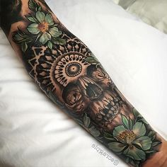 163 Mandalas Tattoos for Women and Men - 163 Mandalas Tattoos for Women and Men - Skull Sleeve, Arm Sleeve Tattoos, Girls With Sleeve Tattoos, Forearm Tattoos, Tattoos For Guys, Tattoo Sleeves, Feather Tattoos, Skull Tattoos, Rose Tattoos