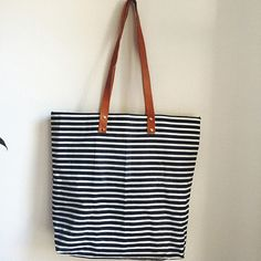 Waxed canvas tote bag - stripe
