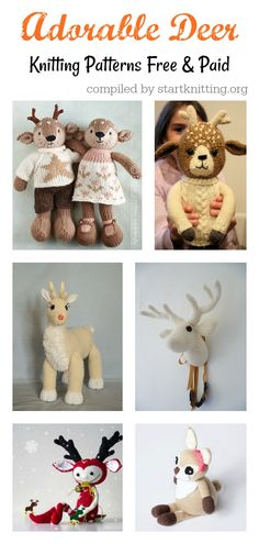 Adorable Deer Free Knitting Pattern and Paid Knitting Patterns Free, Knit Patterns, Free Knitting, Free Pattern, Knitting Projects, Crocheting, Deer, Knit Crochet, Crafts For Kids