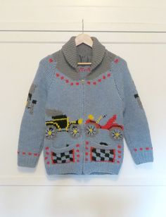 Vintage Cowichan Sweater Antique Cars Automobiles Mary Maxim Shawl Collar Cardigan Heavy Knit Womens Size Medium Mens Size X-Small