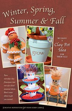 Turn everyday clay flower pots into one-of-a-kind seasonal decor. Here& some ideas to get you started. Cute Crafts, Crafts To Do, Fall Crafts, Holiday Crafts, Arts And Crafts, Diy Crafts, Flower Pot Art, Clay Flower Pots, Flower Pot Crafts