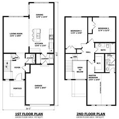 Modern Town House Two Story House Plans Three Bedrooms