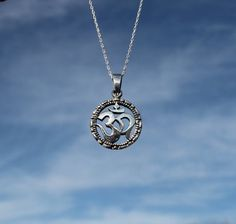 Om Necklace Om Silver Pendant Om Sterling by TherapyStonesOne