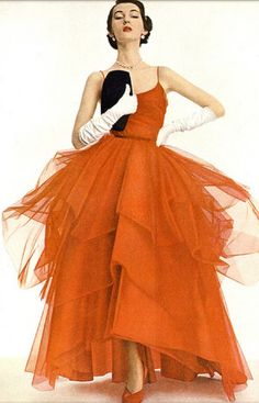 dovima in red tulle gown
