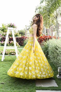 Beautiful Designer Yellow Color Party Wear Lehenga Choli-Bridal L Wedding Lehenga Designs, Designer Bridal Lehenga, Dress Indian Style, Indian Fashion Dresses, Pakistani Dresses, Anarkali, Lehenga Choli, Lehenga Blouse, Bridal Lehenga Collection