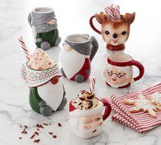 Holiday Ceramic Mug Collection | Pottery Barn Christmas Icons, Christmas Plates, Christmas Ornament Sets, Simple Christmas, Merry Christmas, Christmas Time, Christmas Goodies, Christmas Lights, Vintage Christmas