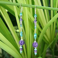 Turquoise and amethyst dangle earrings, 'Bold Blues' by NOVICA