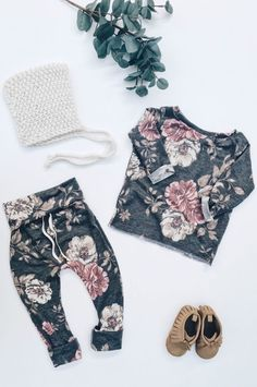 Gorgeous Handmade Floral Baby Top & Pants Set Baby Coming Home Outfit | anchoredeep on Etsy #newborn #baby #cominghomeoutfit