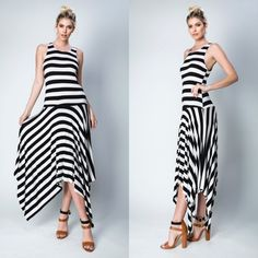 Black and White Striped Dress Made in the USA. No lining.  95% Rayon 5% spandex. Do not purchase this listing, comment on size and a separate listing will be made. ITEM IS BRAND NEW WITHOUT TAGS! Offers placed on listing will be ignored. Thank you! Any questions please ask! Dresses Asymmetrical