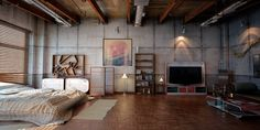 When designing a loft apartment, the main idea is to emphasize the interesting structural elements. We will show you 25 loft decor ideas with industrial and Loft Estilo Industrial, Industrial Bedroom Design, Industrial Interiors, Industrial House, Industrial Lamps, Urban Industrial, Design Bedroom, Industrial Apartment, Industrial Storage