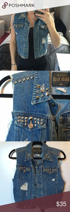 Denim vest I made this out of an older denim jacket. Rips and studs all done by me Jackets & Coats Vests