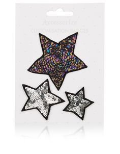 Sequin Star Iron On Badges | Metallic | Accessorize