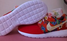 2d41e7922b51 womens nike roshe print flowers red color sneakers summer edition custom  with crystal swarovski and extra