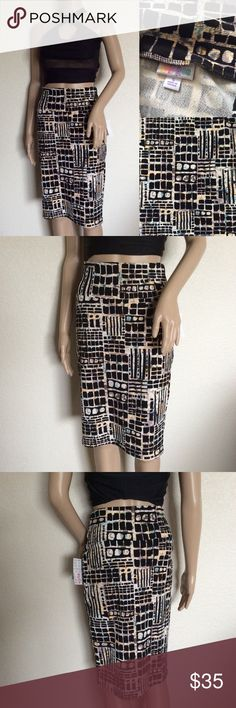 """LuLaRoe Cassie Geometric Pencil Skirt S LulaRoe """"Cassie"""" Skirt Geometric Abstract Print Pencil Skirt. New with tags. Size S. Never worn. Please see photos carefully before buying. You will get exactly as pictured. Materials: Polyester/Spandex Actual Measurements (laying flat): • Waist: 28"""" around • Length: 25"""" Feel free to ask questions. All sales are final! NO Returns. Check out my other listings. LuLaRoe Skirts Pencil"""