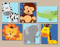 JUNGLE Animal Wall Art Canvas or Prints Boy Girl por TRMdesign