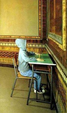 Charlie don't surf  (1997)  Installation : enfant aux mains cloués par des crayons,  Maurizio Cattelan