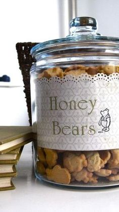 Winnie the Pooh---can use Teddy Grahams! in Hunny Pots..in small jars with labels??