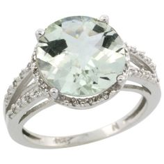 10k White Gold Diamond Green-Amethyst Ring 5.25 ct Round Shape 11 mm, 1/2 inch wide, sizes 5-10 -