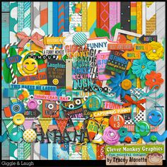 Giggle & Laugh by Clever Monkey Graphics - Digital scrapbooking kits available through Oscraps, GingerScraps, or MyMemories