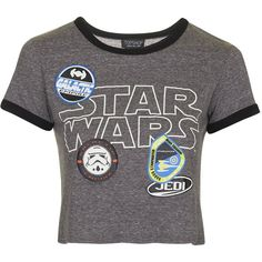 TopShop Star Wars Badge Tee ($24) ❤ liked on Polyvore featuring tops, t-shirts, shirts, crop tops, blusas, grey, crop tee, embroidered t shirts, t shirt and vintage style t shirts