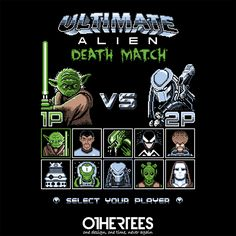 """""""Ultimate Alien Death Match"""" by stationjack Shirt on sale until 19 June on othertees.com Pin it for a chance at a FREE TEE! #alien #predator #dalek #yoda Weekly free tee winners are now live http://www.othertees.com/othertees/win_free_tees/ Go check if you've won !"""