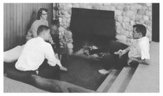 1960s Sunken Conversation Area with Fireplace.