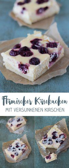 Flämischer Käsekuchen mit versunkenen Kirschen - einfaches Blechkuchen Rezept
