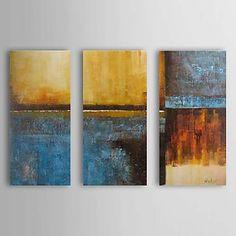 Pintado à Mão Pintura a óleo com moldura abstracta esticado Conjunto de 3 1307-AB0401 – EUR € 116.34
