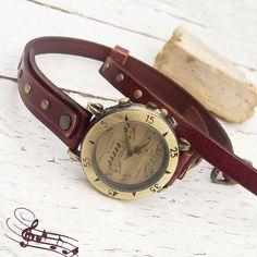 Womens leather watch Rustic Mahagony color Wrist Watch by Jullyet