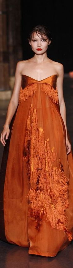 Love this but I'd need a matching jacket of some kind. Basil Soda, Marion Cotillard, Katy Perry, Elie Saab, Orange Fashion, Color Fashion, Couture Fashion, Evening Gowns, High Fashion