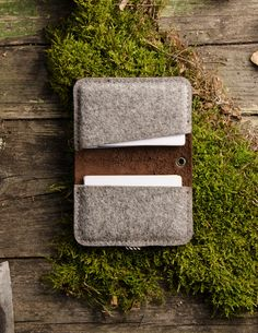 """Handmade CrazyHorse leather and 100% wool felt wallet / cardholder / case for your Credit and Business cards. Vintage style. SIZES: 10.5cm x 7cm (4.15"""" x 2.75"""") MATERIALS: Our products are made using only natural materials, like 'crazy horse' type leather and natural wool felt. It's one of the most expensive leathers for applying special handmade waxes to surface of the leather. Each piece of leather is unique and truly the work of nature.  Rubbed it will change it's color and will give..."""