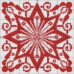 Chart for cross stitch or filet crochet. use the star for the bottom of a bag Biscornu Cross Stitch, Cross Stitch Charts, Cross Stitch Designs, Cross Stitch Embroidery, Embroidery Patterns, Cross Stitch Patterns, Filet Crochet, Crochet Chart, Crochet Pattern