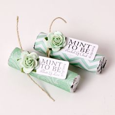 """Mint wedding favors - Set of 24 mint rolls - """"Mint to be"""" favors with personalized tag - mint and coral, mint green, pale pink, mint favors"""