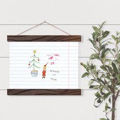 """Wichtel-Postkarte """"Weniger ist mehr"""" Weihnachtsgruß-Karte Wintergruß Neujahr-Nostalgie-Karte Nordisch Wichtel Zwerg Tanne Vögelchen Illustration, Poster, Etsy, Inspiration, Decor, Graphic Prints, Dwarf, Postcards, Nostalgia"""