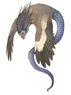 The kada are winged snakes of China that possesses a human face  and have the appearance of dragons with no legs. They cause floods. G. River