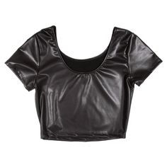 PLEATHER CROP TEE ($25) ❤ liked on Polyvore featuring tops, crop tops, shirts, crop, pleather top, pleather crop top, crop shirt, pleather shirt and cut-out crop tops