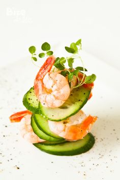 Cucumber Shrimp Appetizer  www.tablescapesbydesign.com https://www.facebook.com/pages/Tablescapes-By-Design/129811416695